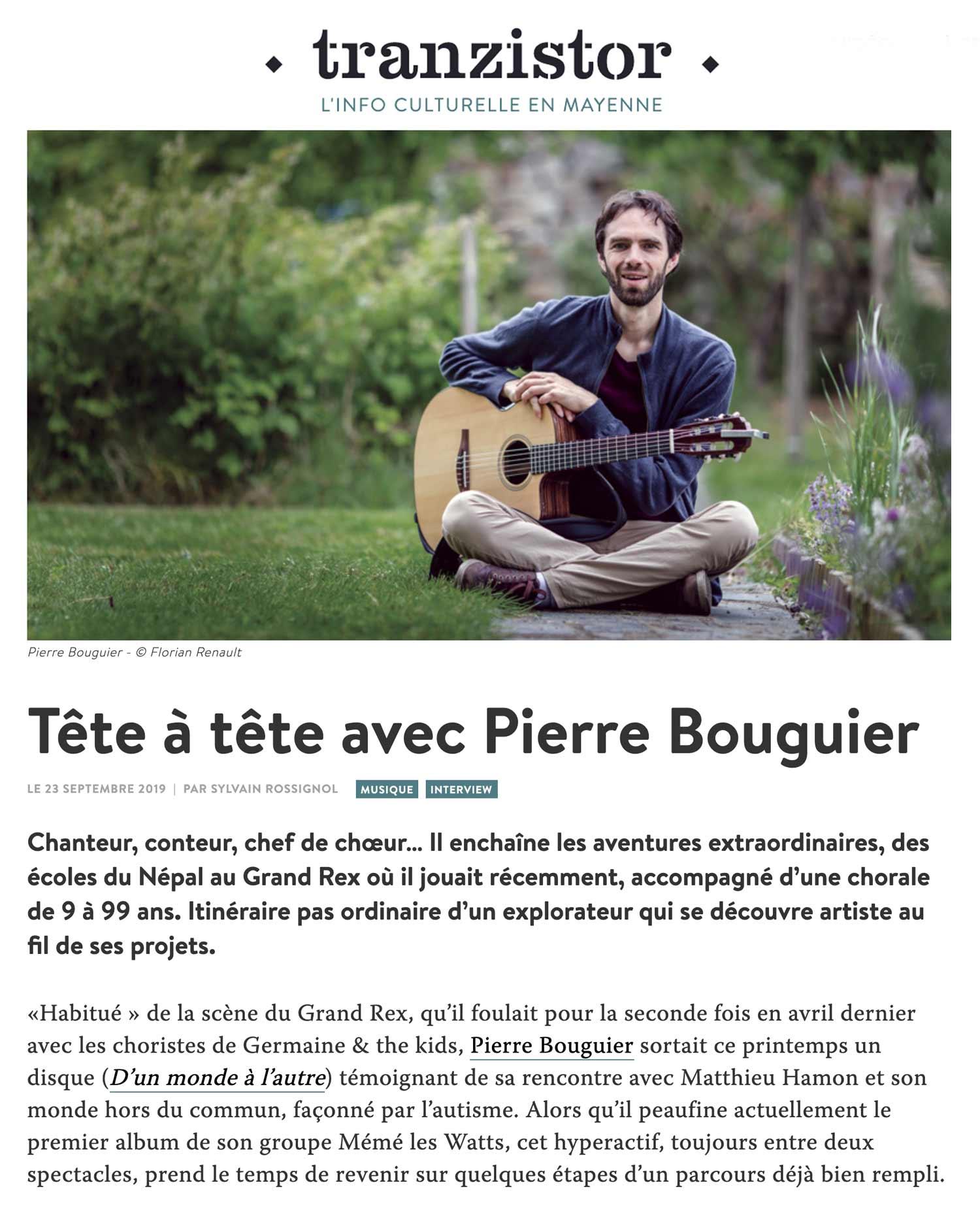 Pierre Bouguier interview tranzistor 2019